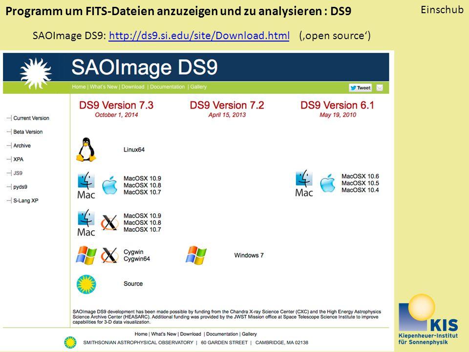 Programm um FITS-Dateien anzuzeigen und zu analysieren : DS9