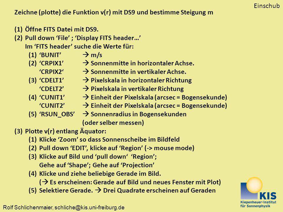 Einschub Zeichne (plotte) die Funktion v(r) mit DS9 und bestimme Steigung m. Öffne FITS Datei mit DS9.