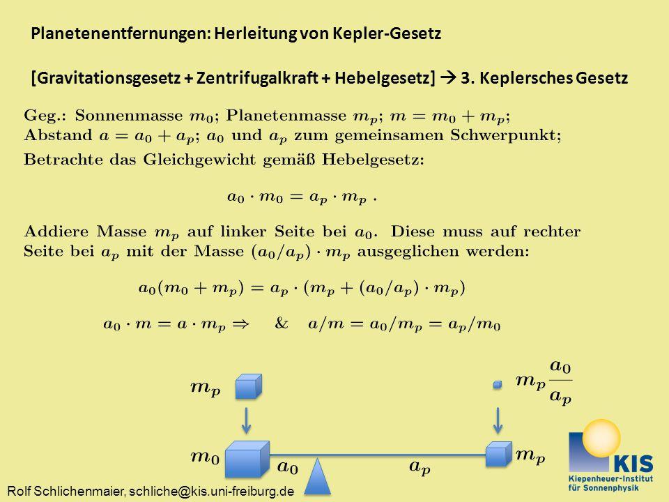 Planetenentfernungen: Herleitung von Kepler-Gesetz