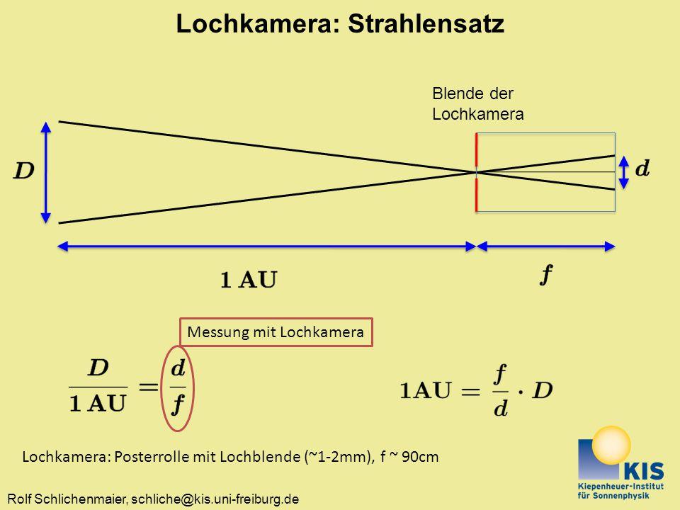 Lochkamera: Strahlensatz
