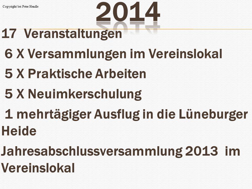 2014 17 Veranstaltungen 6 X Versammlungen im Vereinslokal