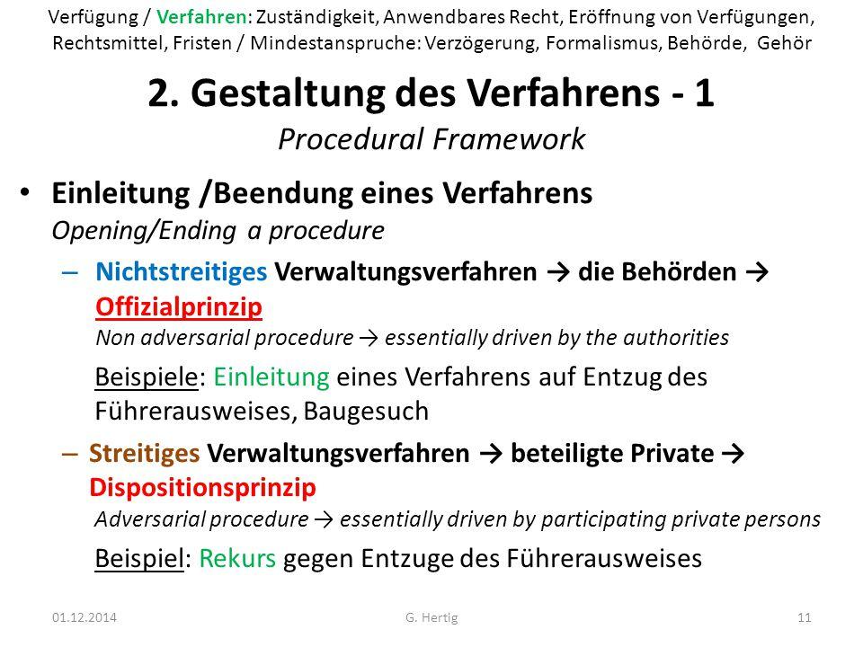 2. Gestaltung des Verfahrens - 1 Procedural Framework