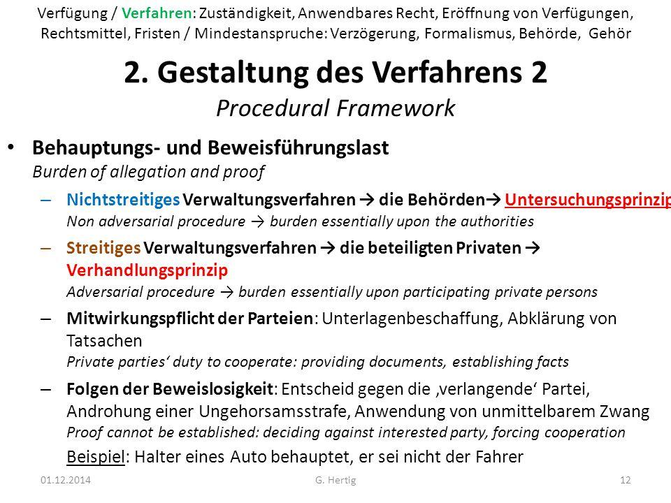 2. Gestaltung des Verfahrens 2 Procedural Framework