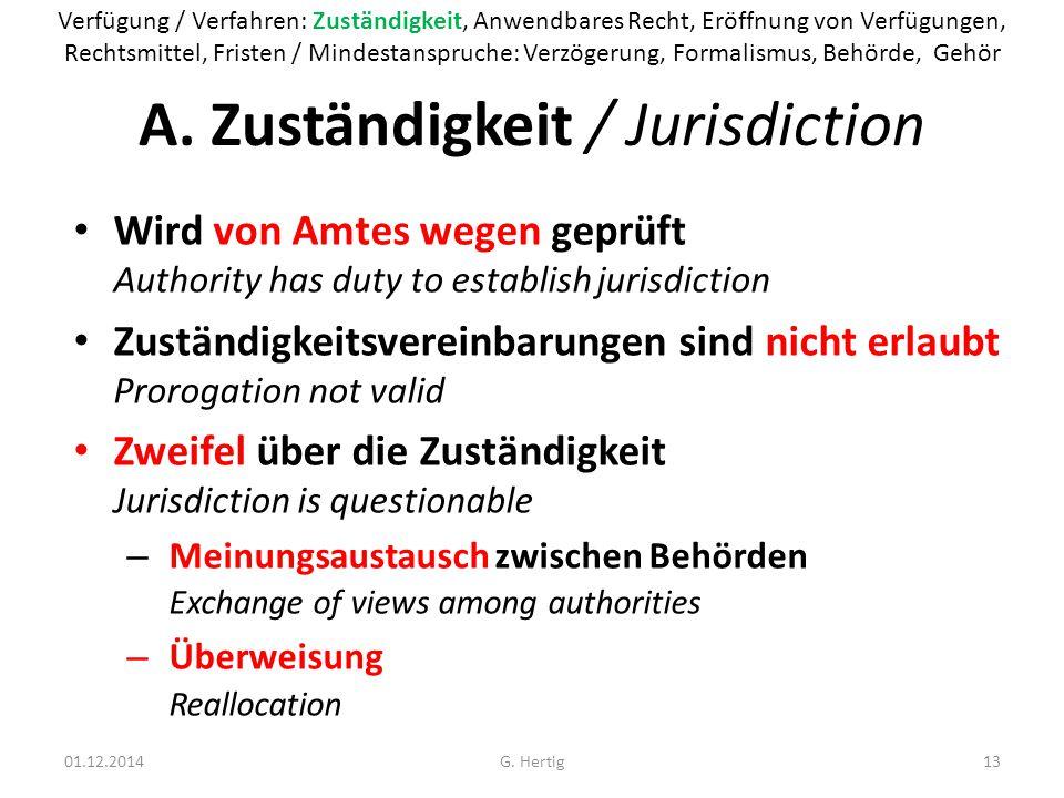 A. Zuständigkeit / Jurisdiction