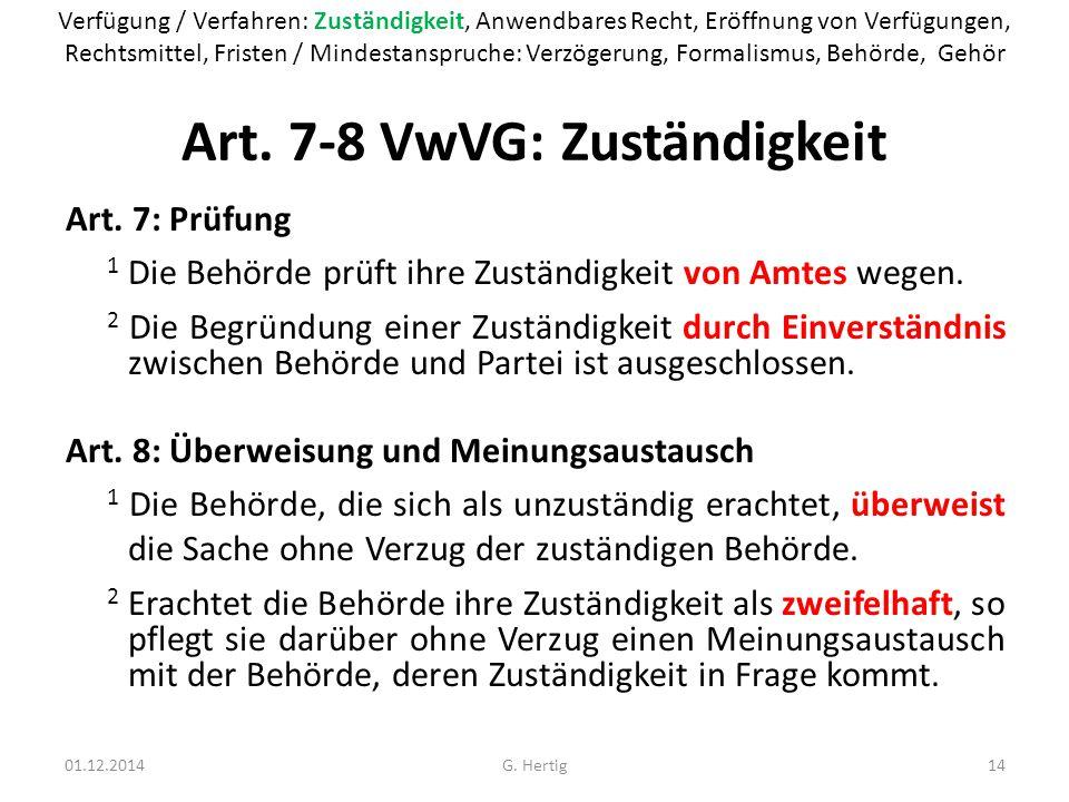 Art. 7-8 VwVG: Zuständigkeit