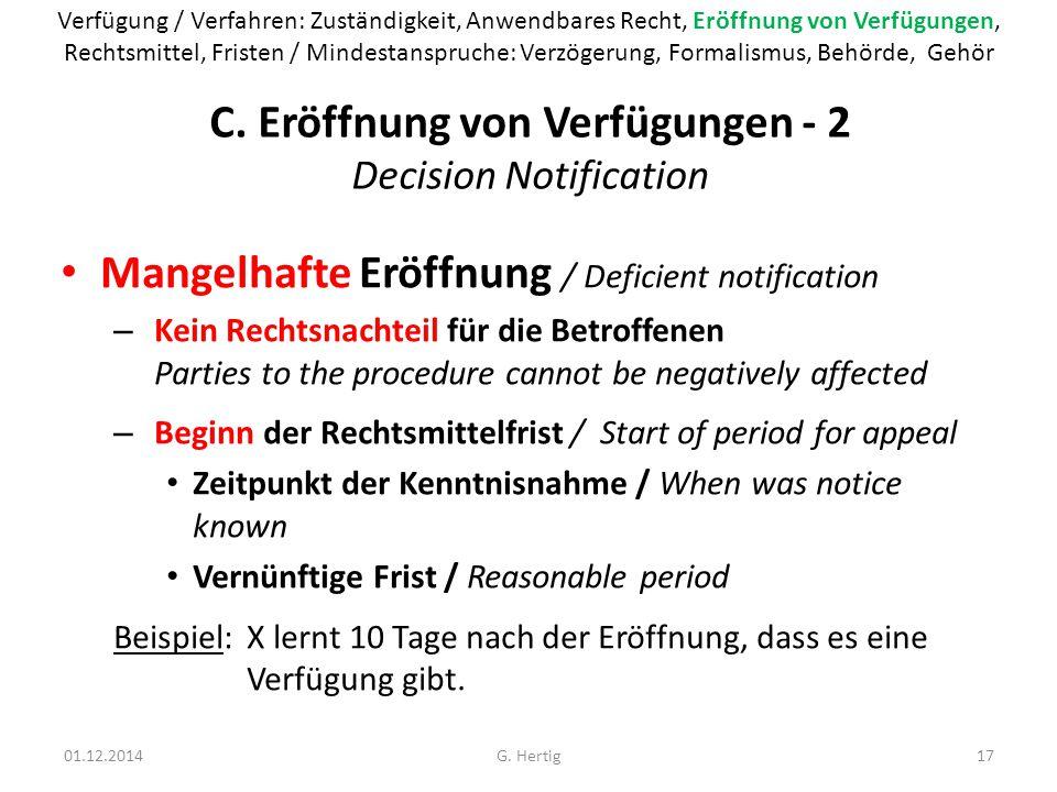 C. Eröffnung von Verfügungen - 2 Decision Notification