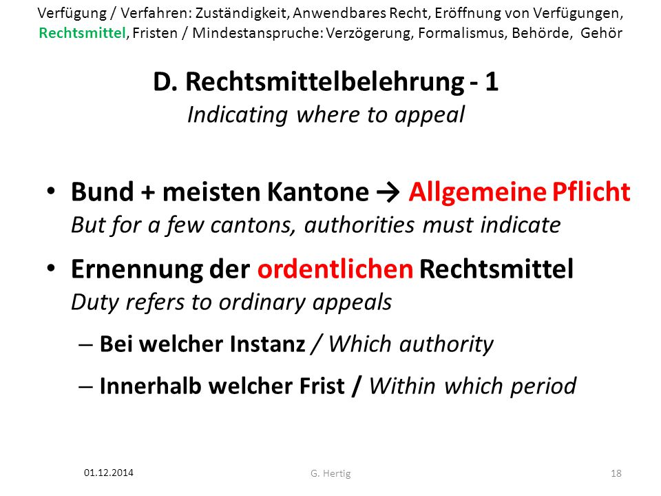 D. Rechtsmittelbelehrung - 1 Indicating where to appeal