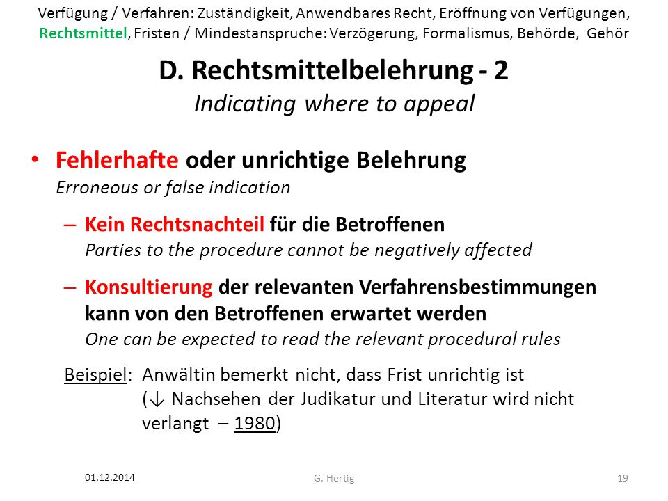 D. Rechtsmittelbelehrung - 2 Indicating where to appeal