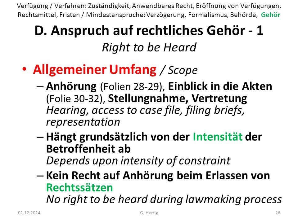 D. Anspruch auf rechtliches Gehör - 1 Right to be Heard