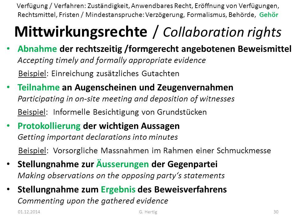 Mittwirkungsrechte / Collaboration rights