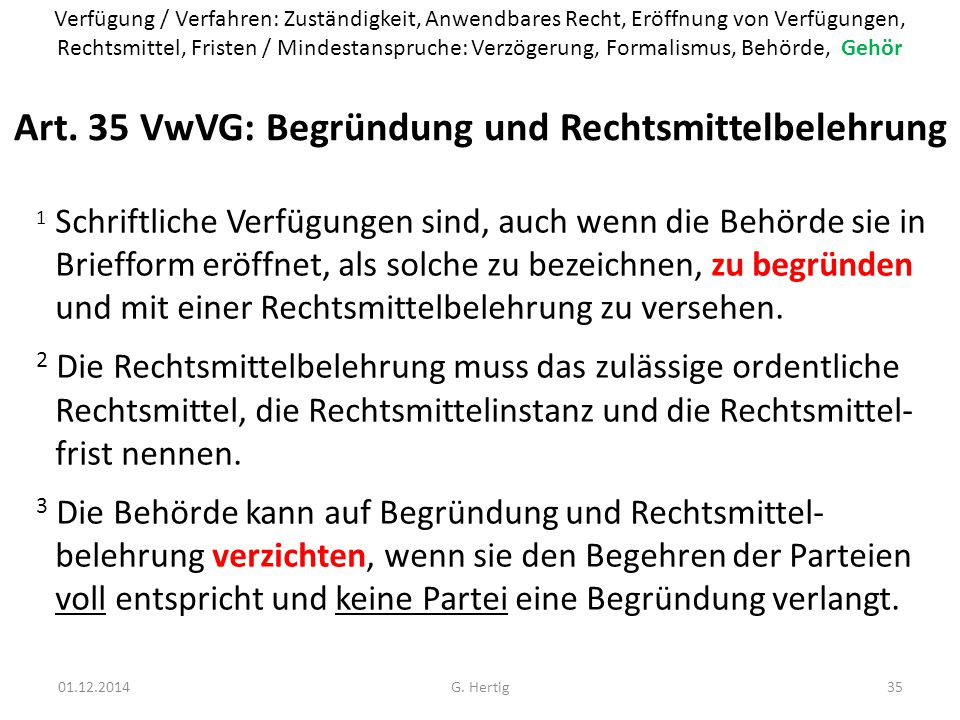 Art. 35 VwVG: Begründung und Rechtsmittelbelehrung