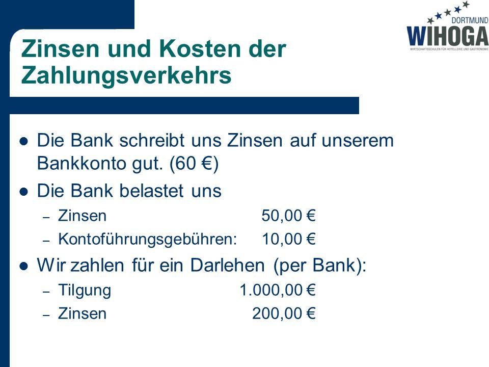 Zinsen und Kosten der Zahlungsverkehrs