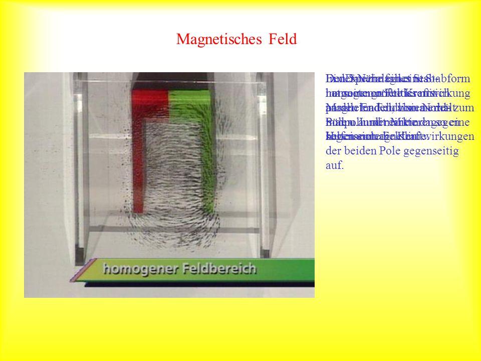 Magnetisches Feld Den Spezialfall eines homogenen Feldes mit parallelen Feldlinien erhält man u.a. mit einem Hufeisenmagneten.