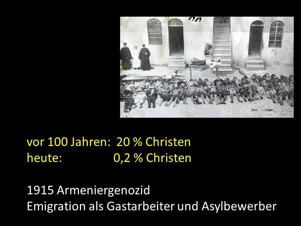 vor 100 Jahren: 20 % Christen heute: 0,2 % Christen.
