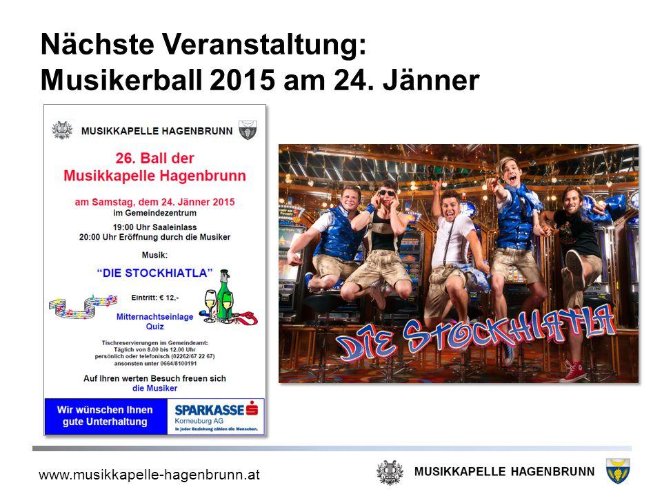 Nächste Veranstaltung: Musikerball 2015 am 24. Jänner