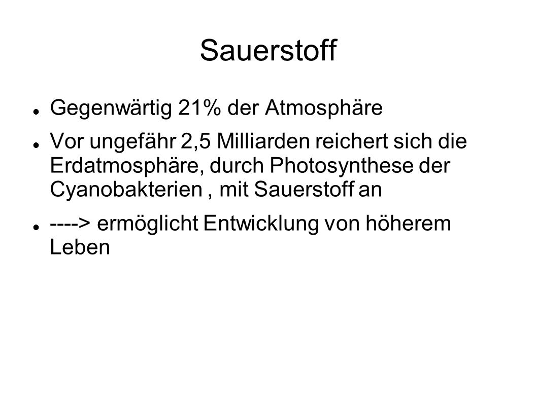 Sauerstoff Gegenwärtig 21% der Atmosphäre