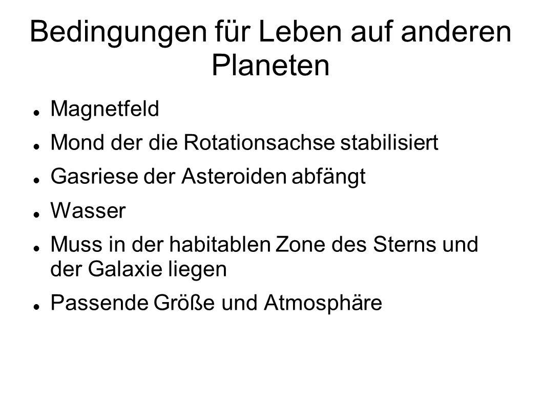 Bedingungen für Leben auf anderen Planeten