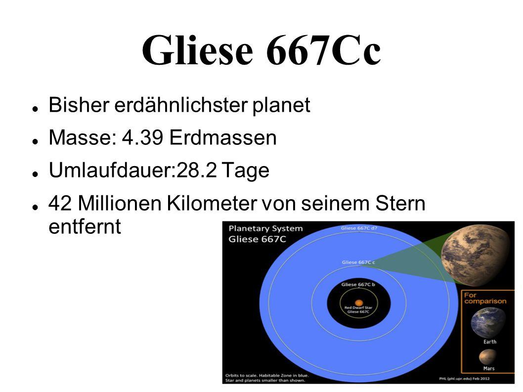 Gliese 667Cc Bisher erdähnlichster planet Masse: 4.39 Erdmassen