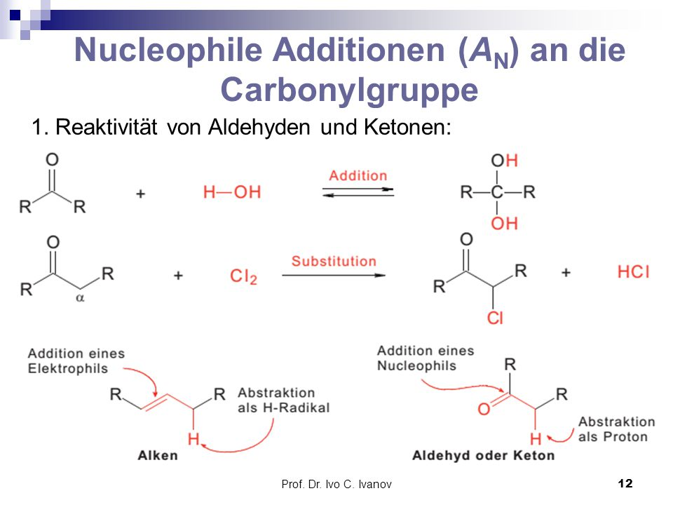 Nucleophile Additionen (AN) an die Carbonylgruppe