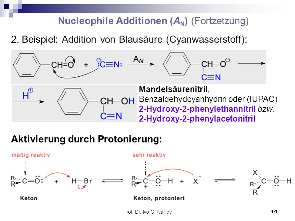 Nucleophile Additionen (AN) (Fortzetzung)