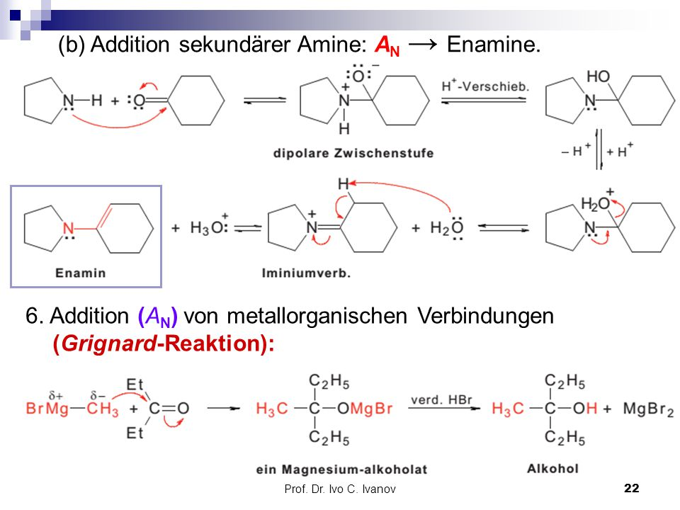 (b) Addition sekundärer Amine: AN → Enamine.