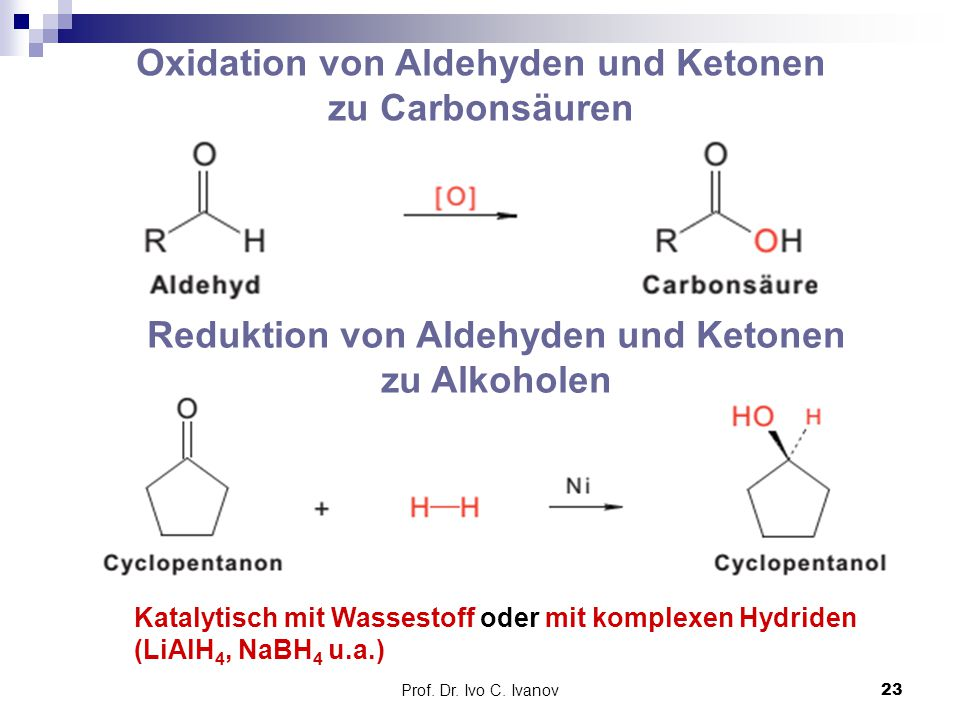 Oxidation von Aldehyden und Ketonen zu Carbonsäuren