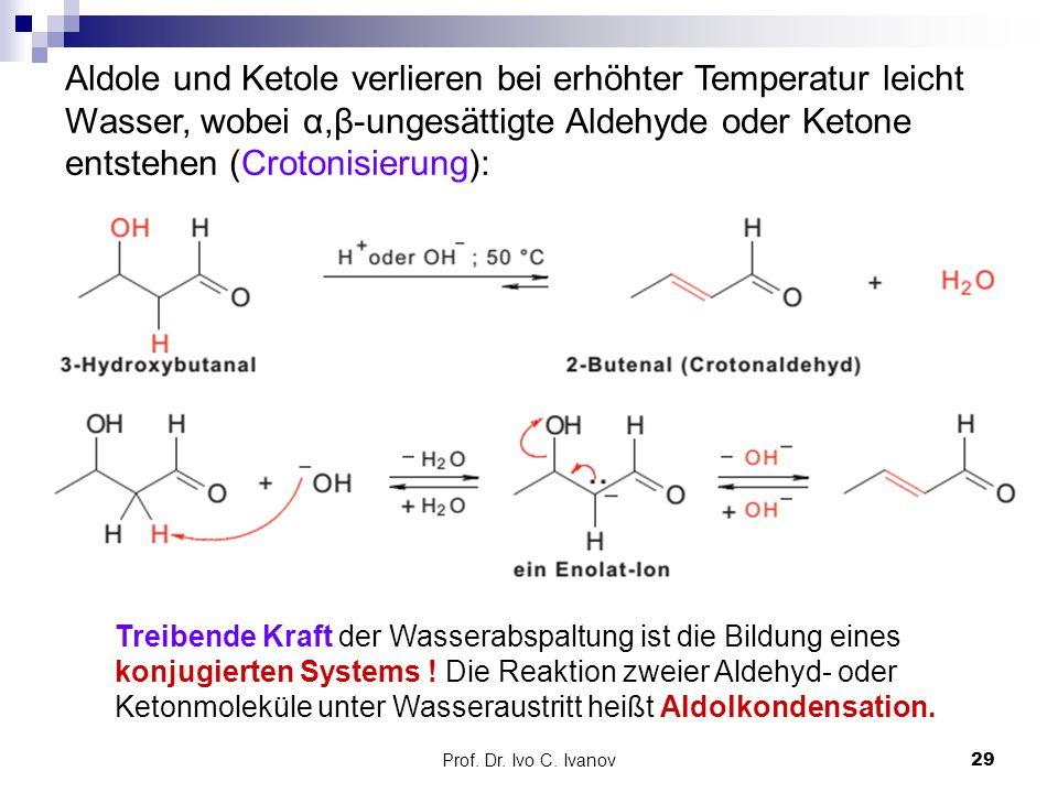 Aldole und Ketole verlieren bei erhöhter Temperatur leicht Wasser, wobei α,β-ungesättigte Aldehyde oder Ketone entstehen (Crotonisierung):