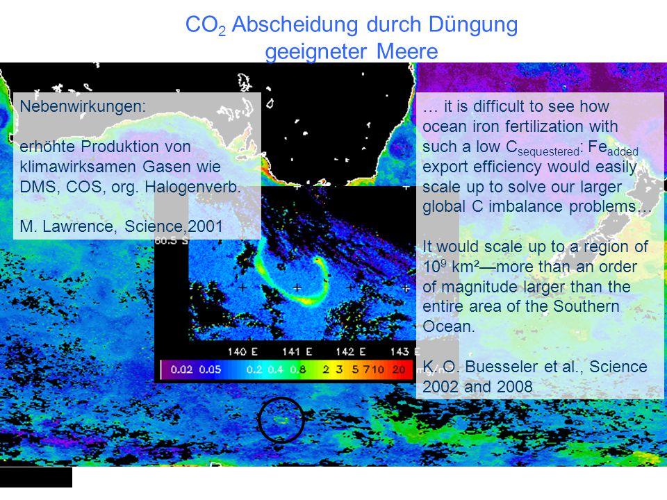 CO2 Abscheidung durch Düngung geeigneter Meere