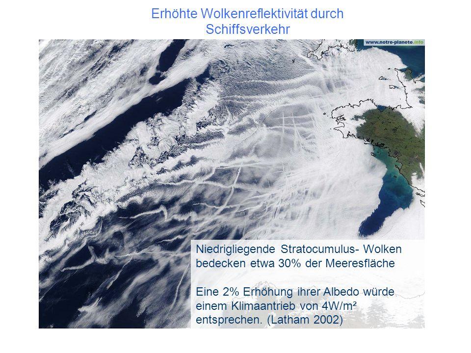 Erhöhte Wolkenreflektivität durch Schiffsverkehr