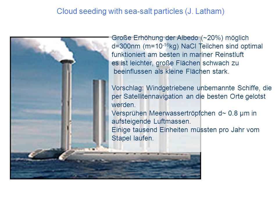 Cloud seeding with sea-salt particles (J. Latham)
