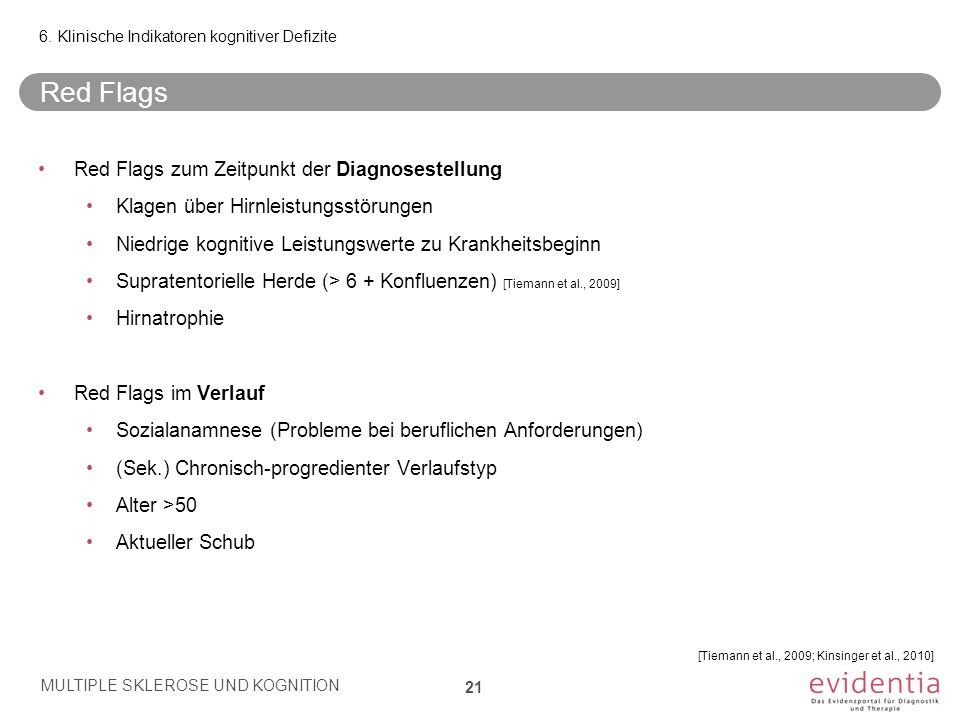 Red Flags Red Flags zum Zeitpunkt der Diagnosestellung
