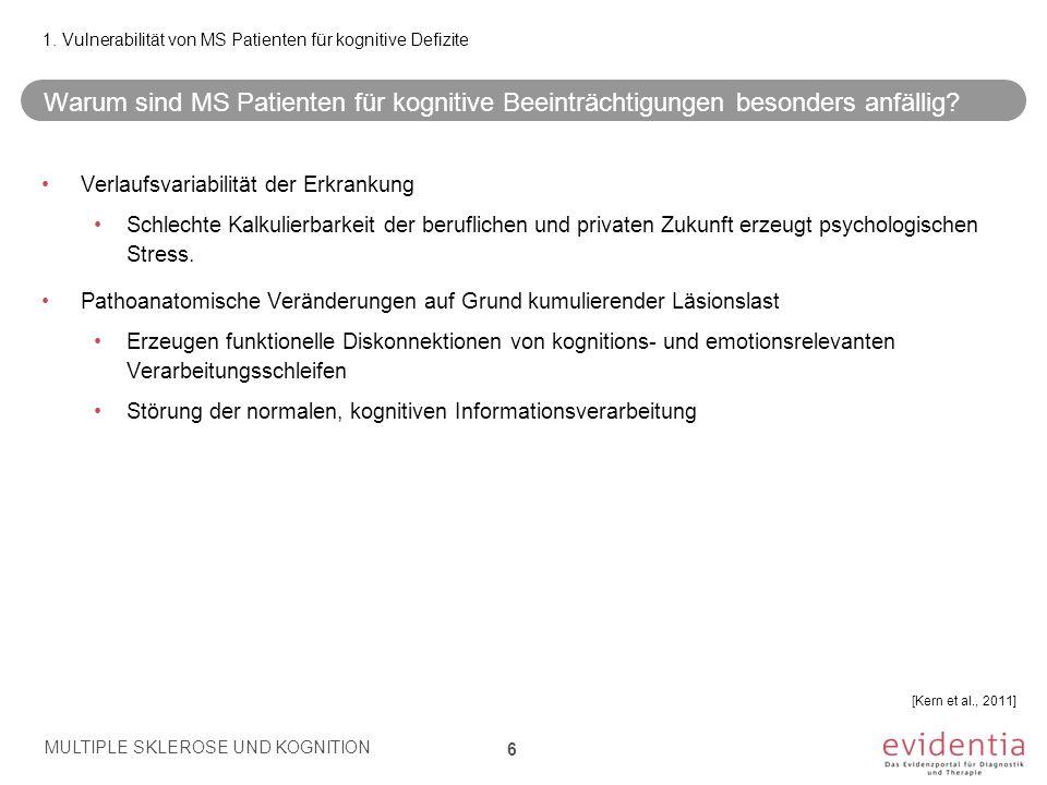 1. Vulnerabilität von MS Patienten für kognitive Defizite