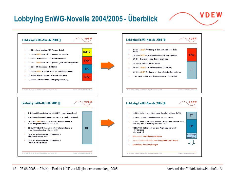 Lobbying EnWG-Novelle 2004/2005 - Überblick