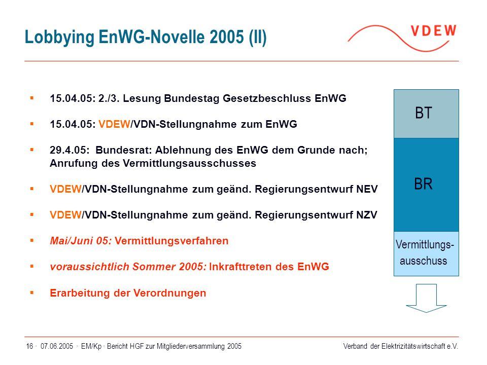 Lobbying EnWG-Novelle 2005 (II)