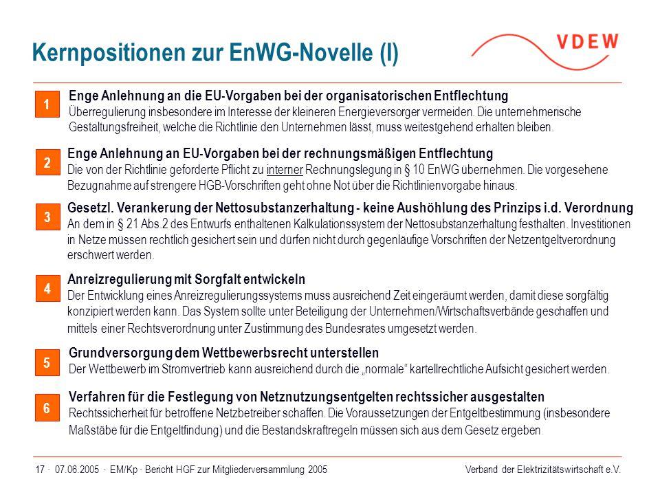 Kernpositionen zur EnWG-Novelle (I)