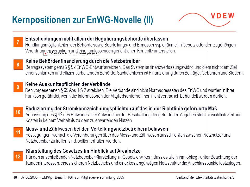 Kernpositionen zur EnWG-Novelle (II)