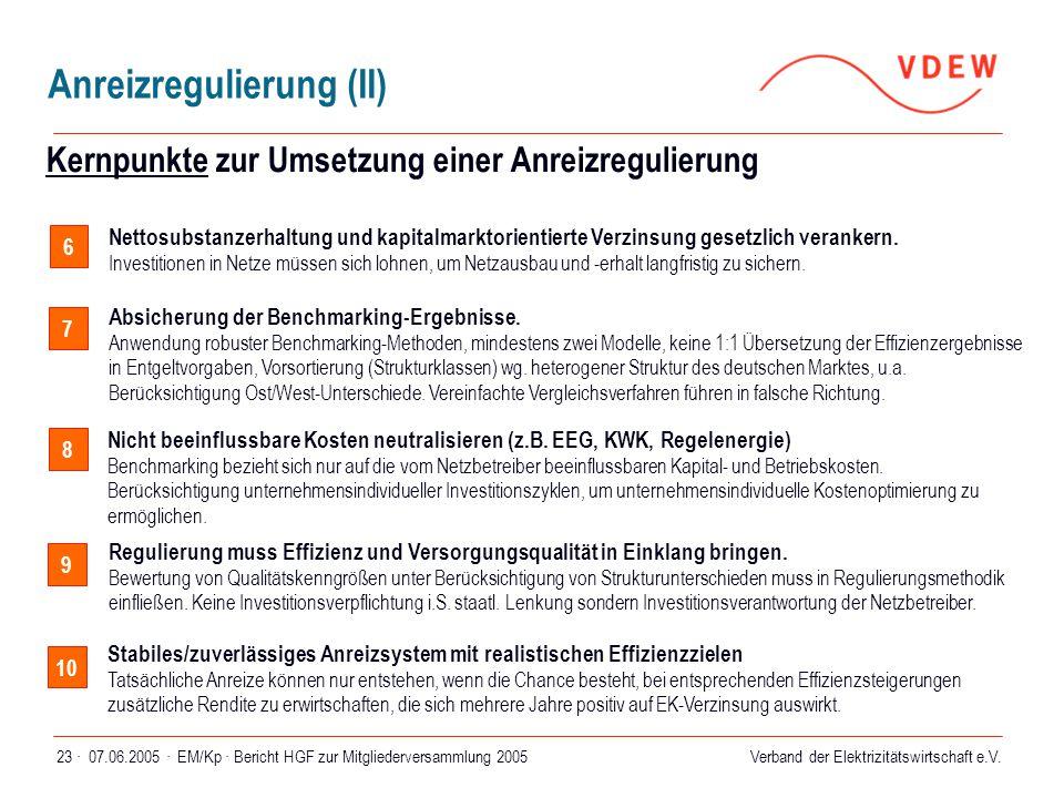 Kernpunkte zur Umsetzung einer Anreizregulierung