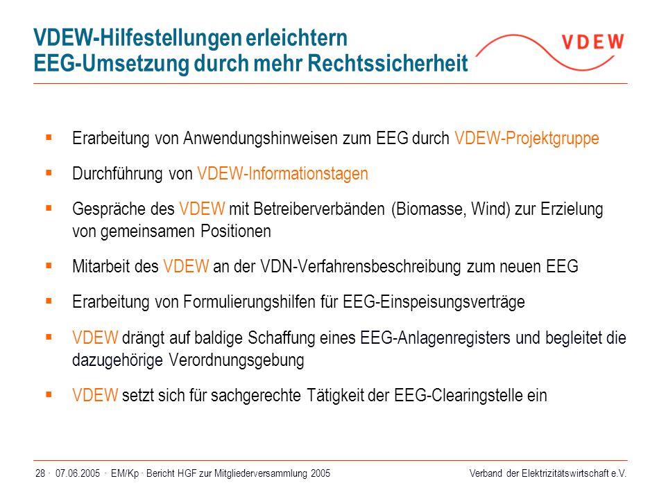 VDEW-Hilfestellungen erleichtern EEG-Umsetzung durch mehr Rechtssicherheit