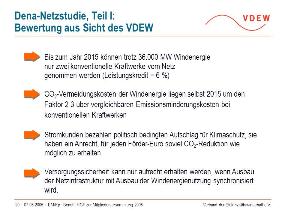 Dena-Netzstudie, Teil I: Bewertung aus Sicht des VDEW