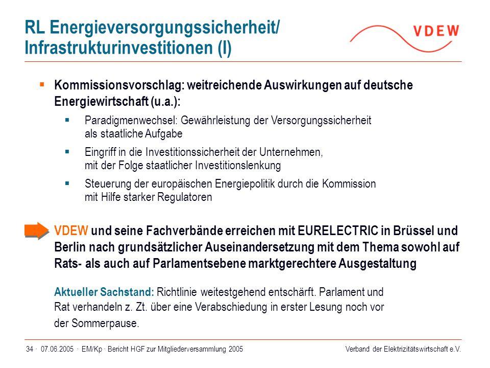 RL Energieversorgungssicherheit/ Infrastrukturinvestitionen (I)