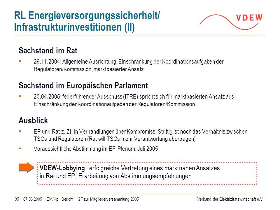 RL Energieversorgungssicherheit/ Infrastrukturinvestitionen (II)