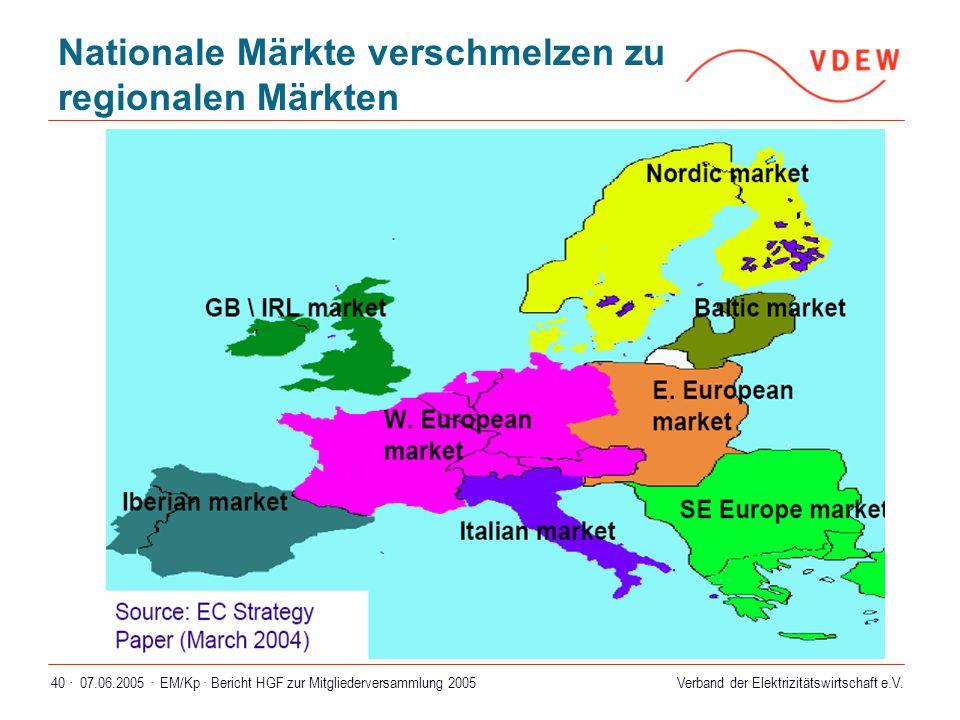 Nationale Märkte verschmelzen zu regionalen Märkten