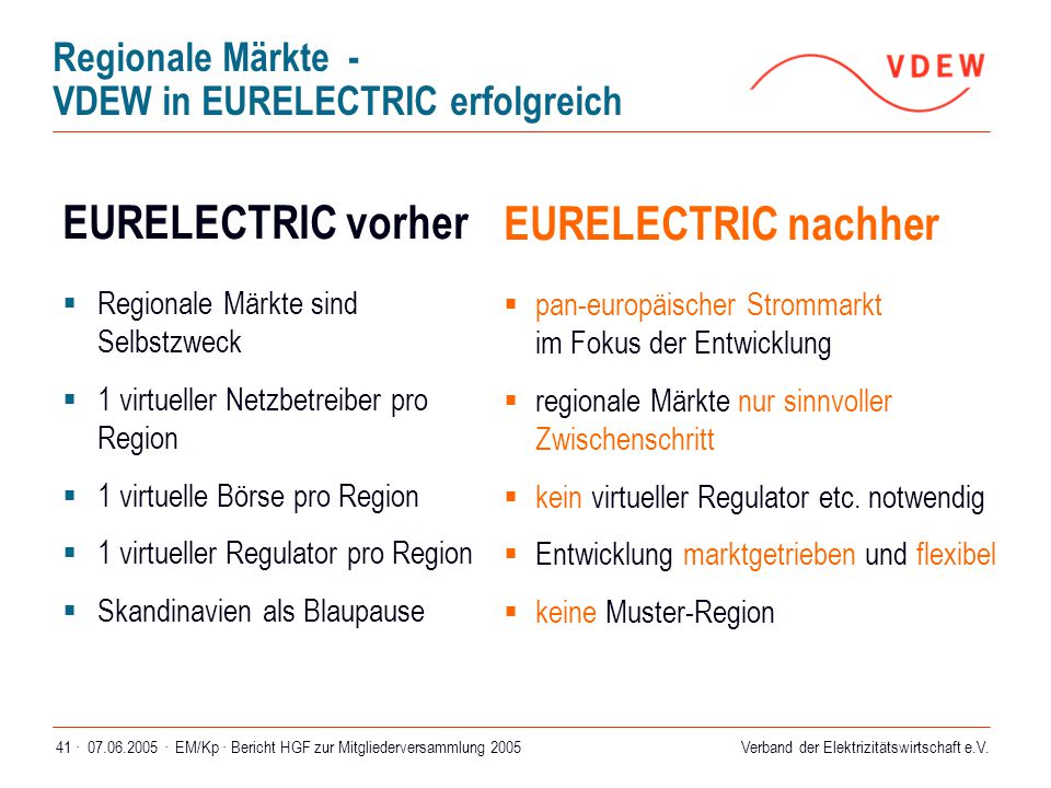 Regionale Märkte - VDEW in EURELECTRIC erfolgreich