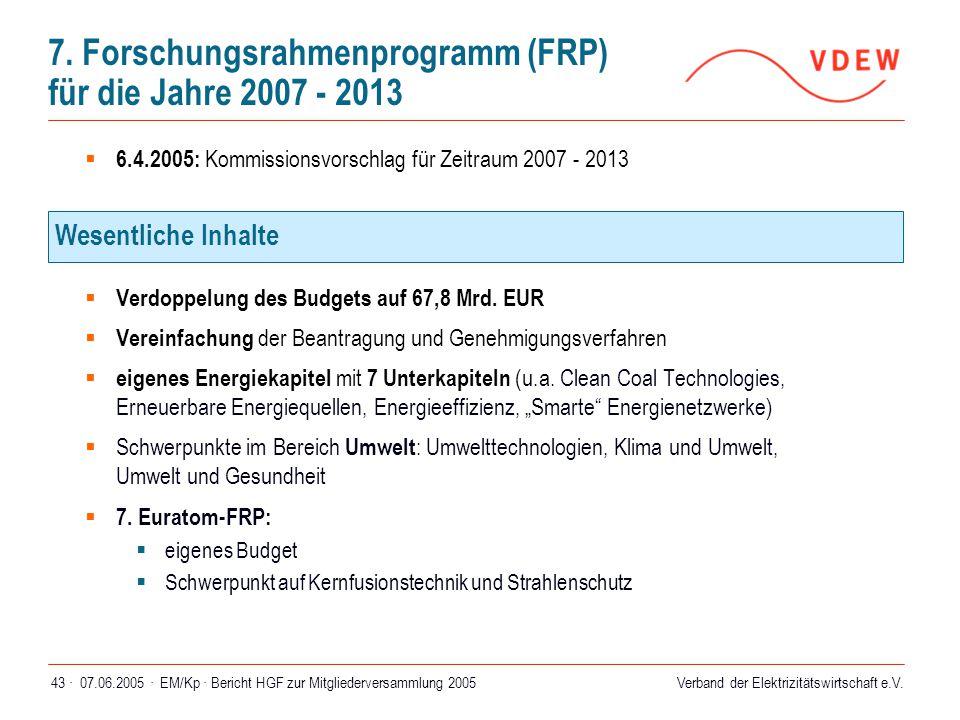 7. Forschungsrahmenprogramm (FRP) für die Jahre 2007 - 2013