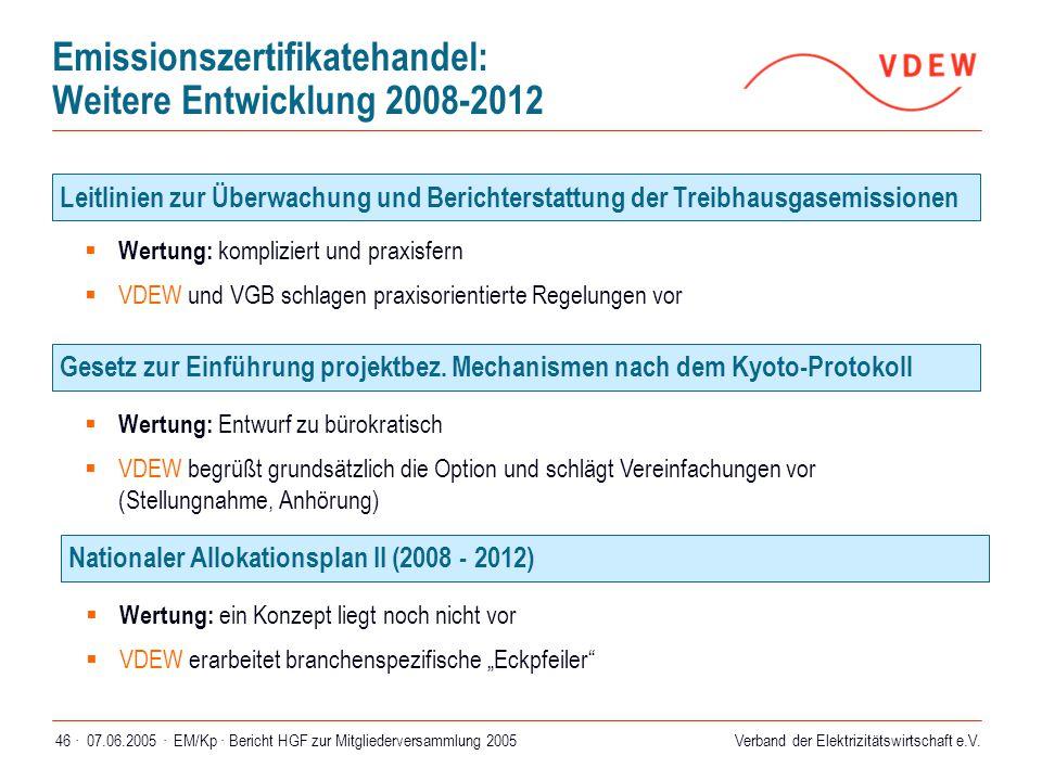 Emissionszertifikatehandel: Weitere Entwicklung 2008-2012