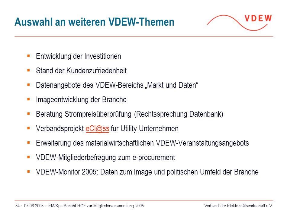 Auswahl an weiteren VDEW-Themen