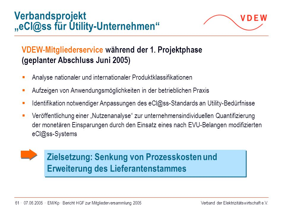 """Verbandsprojekt """"eCl@ss für Utility-Unternehmen"""