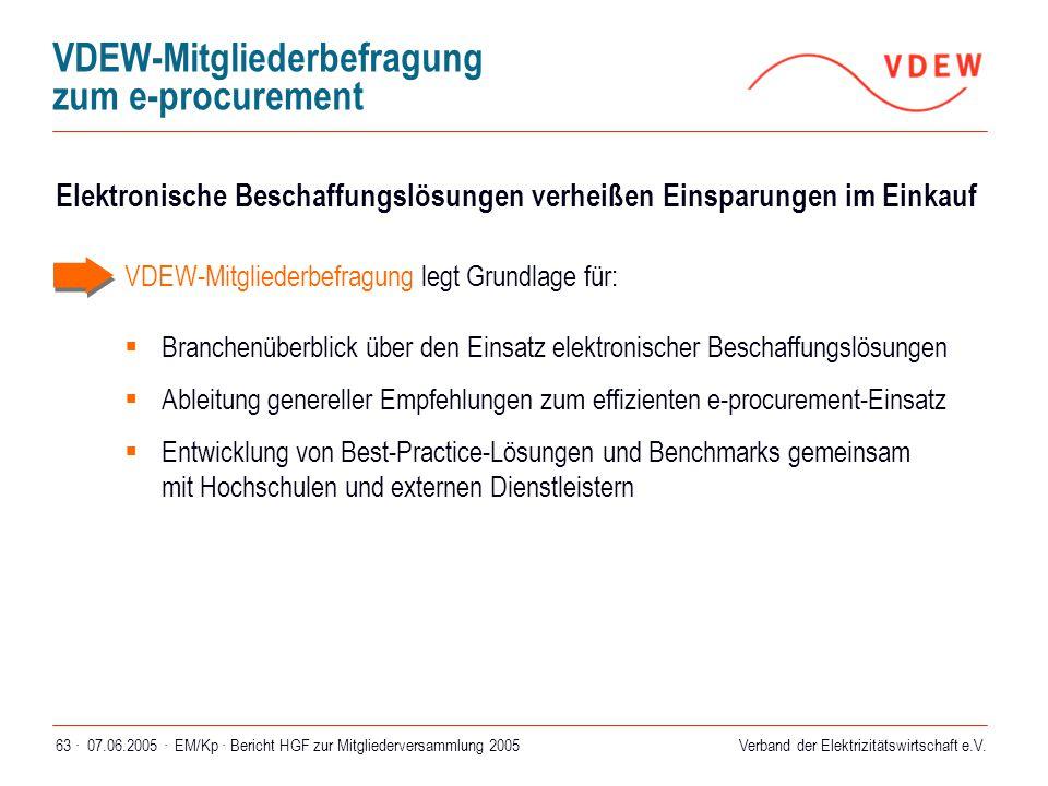 VDEW-Mitgliederbefragung zum e-procurement