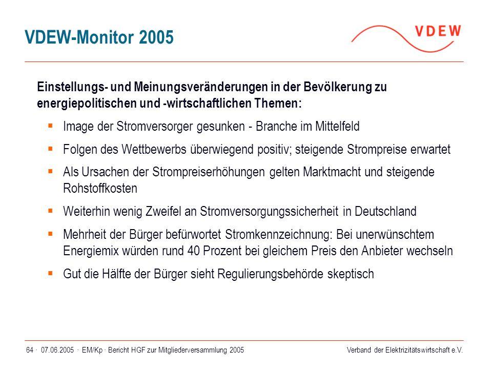 VDEW-Monitor 2005 Einstellungs- und Meinungsveränderungen in der Bevölkerung zu energiepolitischen und -wirtschaftlichen Themen: