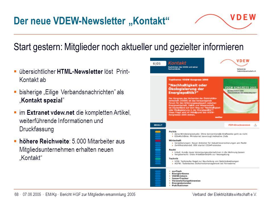 """Der neue VDEW-Newsletter """"Kontakt"""
